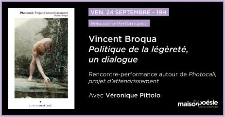 """Rencontre-performance autour de """"Photocall"""" de Vincent Broqua à la Maison de la poésie"""